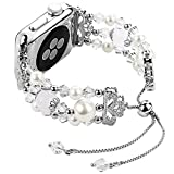 Junwei for Iwatch Bracelet Bands Adjustable, Women Stylish Apple Watchband with Stretch Bling Beads of Crystal Rhinestones Pearls for Apple Watch Series 4 3 2 1 Sport etc. - ( Silver, 38mm / 40mm )