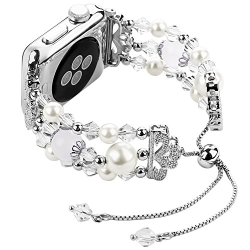 Junwei Handmade Wristband Compatible with Apple Watch Band Series 4/3/2/1, Women Attractive Jewelry iWatch Bangle Bracelet Elastic Wrist Band with Bling Pearls Beads & Tassel Style - Silver 38mm 40mm