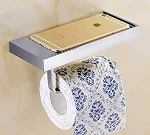 LANGPAI Toilet Paper Tissue Roll Holder with Mobile Phone Storage Shelf Rack Wall Mounted Solid Brass Chrome