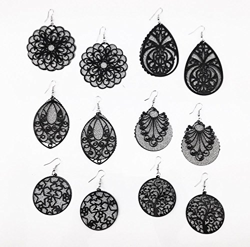 (Honbay 6 Pairs Mix Stlyes Hollow Out Frosted Bling Back Tray Dangle Earrings Ear Hooks (Black))