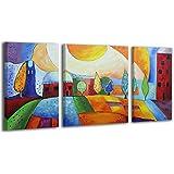 100% HANDMADE + certificato / Quadro dipinto con colori acrilici Città di smeraldo / dipinti su tela con lettiga in legno / artigianali / Comodo fissaggio alla parete / Arte Contemporanea /120x70 cm