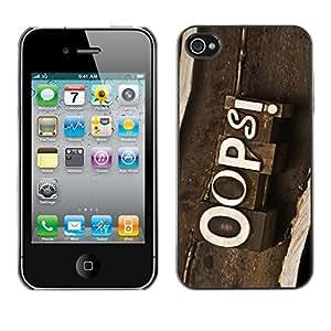 YiPhone /// Prima de resorte delgada de la cubierta del caso de Shell Armor - Oops Vintage Sign - Apple iPhone 4 / 4S
