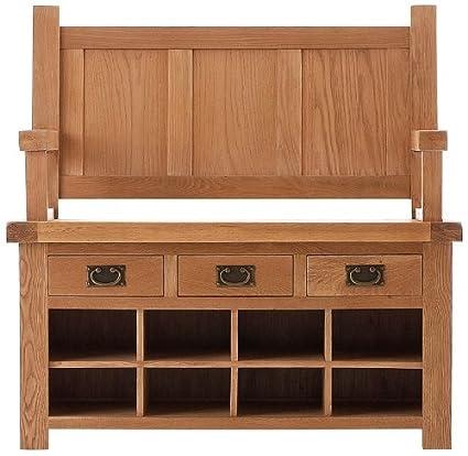 Pembroke roble muebles de dormitorio monjes asiento banco con 3 ...