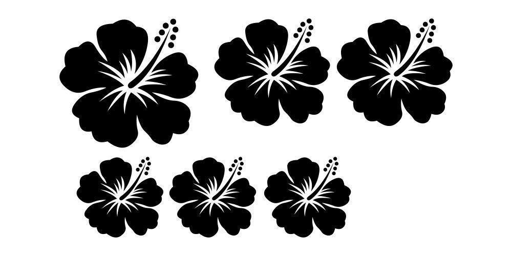 Hibiskus V-06-6er Set Autoaufkleber Blumen