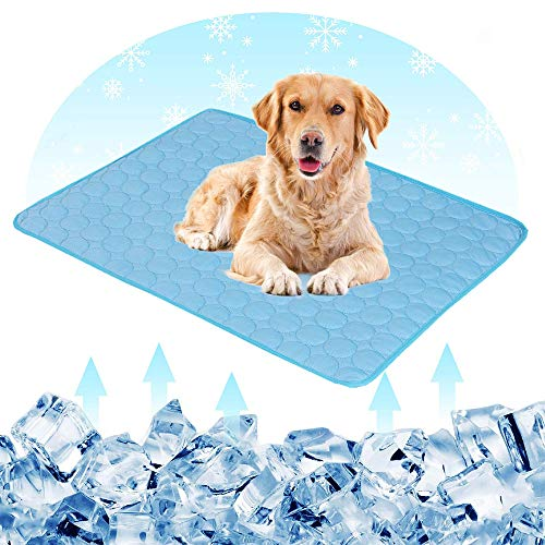 Pet Cooling Mat - Hamkaw Dog Cooling Mat Extra Large Pet Cats Dogs Cooling Pad with 3 Layers - Help Your Pet Stay Cool - Non Toxic Ice Silk Mat Sleep Cushion for Kennel Sofa Bed Floor Indoor Outdoor Blue