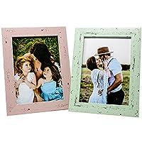Selldorado® Set di 2 cornici per foto da 13 x 18 cm, in legno di menta e rosa, con supporto in stile shabby chic vintage…