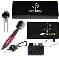 Golf Brush Kit - Golf club cleaner set - 2x Golf Club Brushes, Microfiber Towel, Club Groover, Divot Tool, Ball Marker & Clip - 3-in-1 Pocket Brush - Golf Accessories & Cleaner Gift Set