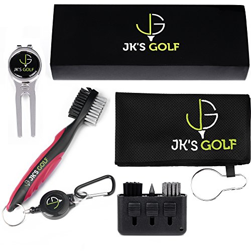 Golf Brush Kit - Golf club cleaner set - 2x Golf Club Brushes, Microfiber Towel, Club Groover, Divot Tool, Ball Marker & Clip - 3-in-1 Pocket Brush - Golf Accessories & Cleaner Gift Set (Red)