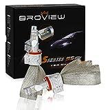 BROVIEW S5 LED Headlights Anti Flicker Conversion Kit Bulbs - 6000LM H8 H9 H11 6500K Cree Chip- PnP - LED Headlamp Replaces Halogen & HID - (2pcs/set)