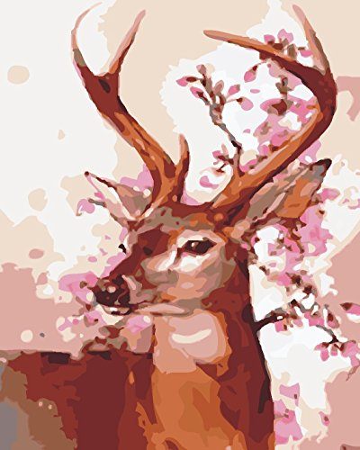 LB DIY Oil Painting for Adults Kids Paint By Number Kit Digital Oil Painting Deer 16X20 - Paint Deer