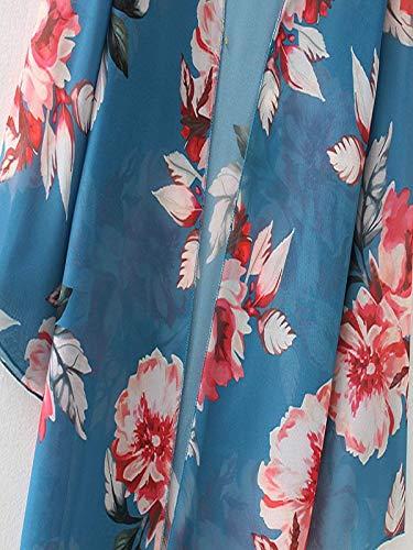 Chiffon Cardigan, Flower Print Open Front Shawl Kimono Coat Jackets Cover up Blouse Tops(Green,S) by yijiamaoyiyouxia Blouse (Image #8)