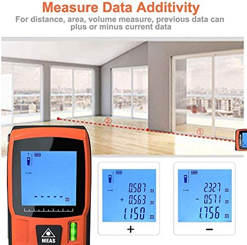 CARACHOME 50/120m Laser Measure, Digital Laser Distance Meter with LCD Backlight Display,Measure Distance, Area and Volume, Pythagorean Mode