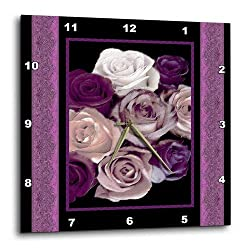 3dRose dpp_29798_3 Dreamy Hues of Purple and Pink Roses with Purple Damask Ribbon Trim-Wall Clock, 15 by 15-Inch