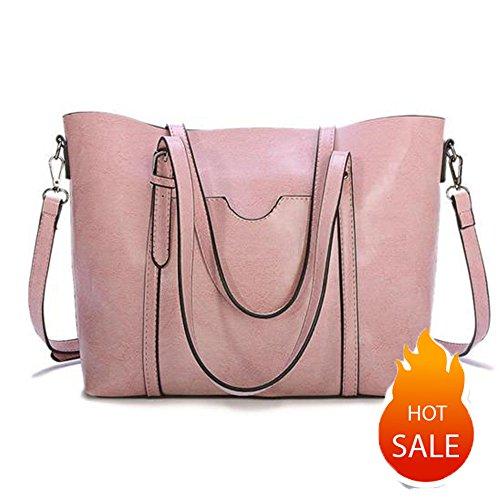 Women Genuine Greased Leather Tote Bag Shoulder Bags Top Handle Bag Satchel Bag