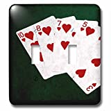 3dRose Alexis Photo-Art - Poker Hands - Poker Hands Flush Hearts - Light Switch Covers - double toggle switch (lsp_270315_2)