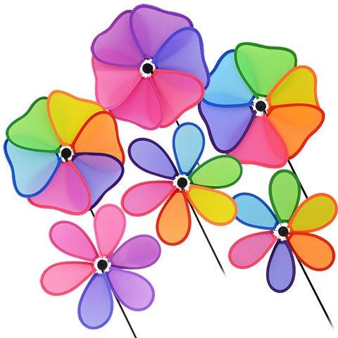 Spring Garden Rainbow Flower Shaped Pinwheel Yard Spinning (Elsa Palace Throw)