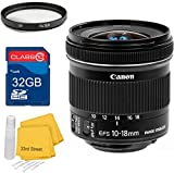 Canon Canon EF-S 10-18mm f/4.5-5.6 IS STM Super Wide LensBundle+ 32GB SD Card + UV Filter + Cleaning Kit- For Canon T2 DSLR