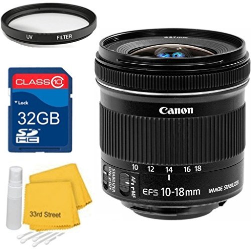 Canon Canon EF-S 10-18mm f/4.5-5.6 IS STM Super Wide LensBundle+ 32GB SD Card + UV Filter + Cleaning Kit- For Canon 70D by Canon
