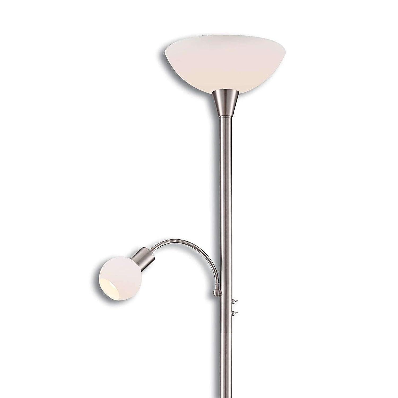 Deckenfluter in Alu aus Metall u.a Modern Floor Lamp Standleuchte Stehleuchte 2 flammig, A+, inkl. Leuchtmittel - Wohnzimmerlampe Lampenwelt LED Stehlampe Elaina f/ür Wohnzimmer /& Esszimmer