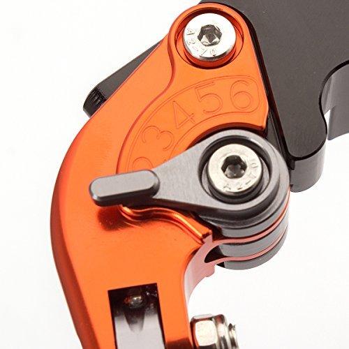 FXCNC Racing Palancas de embrague de freno de freno ajustable extensibles de aluminio CNC para 390 Duke/RC390 2013-2018,200 Duke/RC200 2014-2016,RC125/125 ...