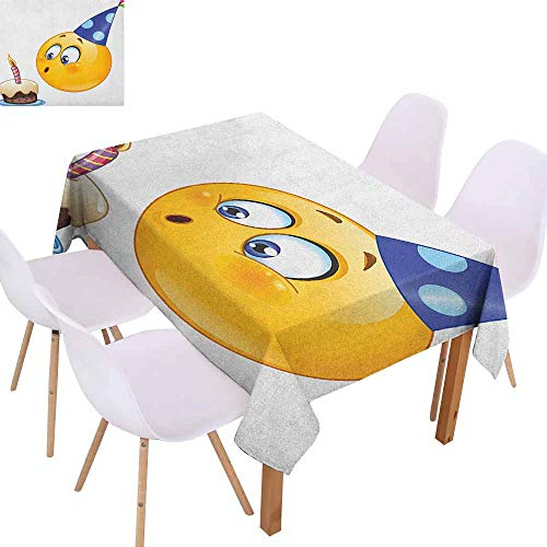 (Restaurant Tablecloth Kids Birthday Happy Emoji Face Celebration with Cone Hat Blowing Party Cake Print Picnic W59 xL71 Yellow and Dark Blue)