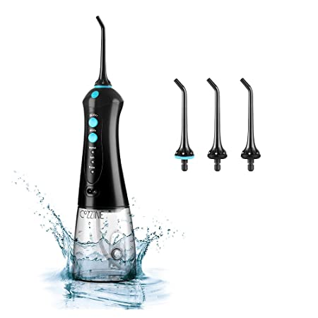 Water Flosser Professional Cordless Dental Oral Irrigator, Cozzine 300ml Portable Rechargeable IPX7 Waterproof 3 Modes Water Flossing with Cleanable Water Tank for Home and Travel, Black