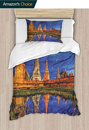 (PRUNUS-Home 2 PCS King Size Comforter Set,Group of Historical Stone s by River Pagoda Zen Wisdom Image Print Cool 3D Outer Space Bedding Digital Print 39