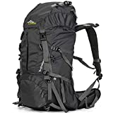 Loowoko Hiking Backpack 50L Travel Daypack Waterproof with Rain Cover for Climbing Camping Mountaineering (Black)