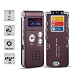 Digital Audio Voice Recorder by ROCSUN, Portable Multifunctional Rechargeable Dictaphone, MP3 Music Player, 8GB Memory Internal, USB port, Dual Microphone, Professional Dynamic Noise Reduct (Dark red)