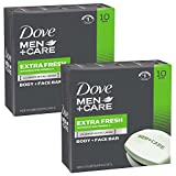 Dove Men + Care Barra corporal y facial, extra fresco, 4 onzas, 10 bar, Extra Fresh, 20-Bar