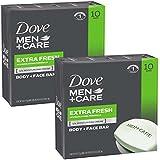 Dove Men+Care Body and Face Bar, Extra Fresh, 4 Ounce, 20 Bar