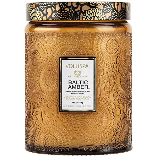 - Voluspa Baltic Amber Large Embossed Glass Jar Candle, 16 Ounces