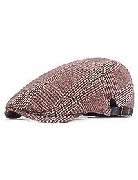 Mens Cotton Flat Cap Adjustable Striped Duckbill Berets Ivy Gatsby Newsboy Hat