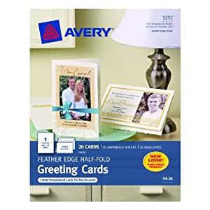Avery Half-Fold Feather-Edge Greeting Cards for Inkjet Printers, 5.5 x 8.5 Inches, Ivory, Pack of 20 (3251)