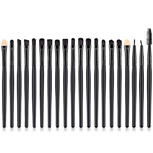 KINGMAS Eye Brushes, 20pcs Cosmetics Professional Eyebrow Eyeliner Eyeshadow Blending Makeup Brush set (Black)