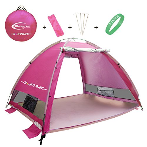 R ? HORSE Outdoors Large Pop Up Beach Tent Instant Easy Up Cabana Large 3-4 Person Anti UV Portable Automatic Sun Shelter For Sport Fishing