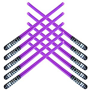 Pack of 8 Inflatable Light Saber Sword Toys - 8 Purple lightsabers - pool, beach, party favors, larp, Halloween costume, give away, Christmas stocking stuffer