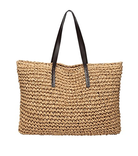 Defeng Women Shoulder Bag Straw Beach Bags Totes Hobos Handbag Vacation Weekender Top-Handle Bag Light Brown-b012