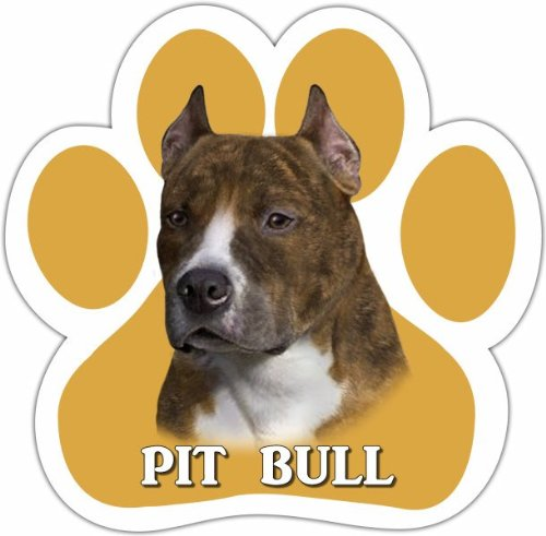 Pit Bull, Brindle Car Magnet With Unique Paw Shaped Design Measures 5.2 by 5.2 Inches Covered In UV Gloss For Weather Protection
