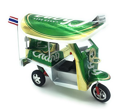WD store Thailand Thai tuktuk Classic Handmade Thai TUK TUK Taxi Made of Chang Beer can Aluminium Model Collection Show in Room Home Office or Great Gift All seasion Put in Plastic Clear Box