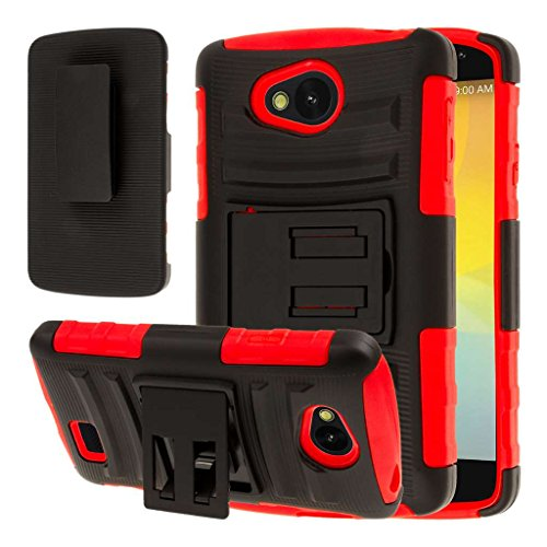 LG Transpyre / Tribute Belt Clip Case, MPERO IMPACT XT Series Dual Layered Tough Durable Shock Absorbing Silicone Textured Reinforced Rubberized Polycarbonate Hybrid Belt Clip Kickstand Case [Perfect Fit & Precise Port Cut Outs] - Red (Lg Case Transpyre Phone)