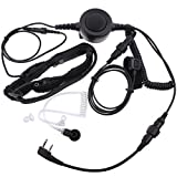 Tenq Professional Tactique Military Police FBI Bodyguard Forehead/throat Mic Microphone Large Armpit PTT Covert Acoustic Tube Earpiece Headset with Finger PTT for 2-pin Kenwood Baofeng Wouxun Radio