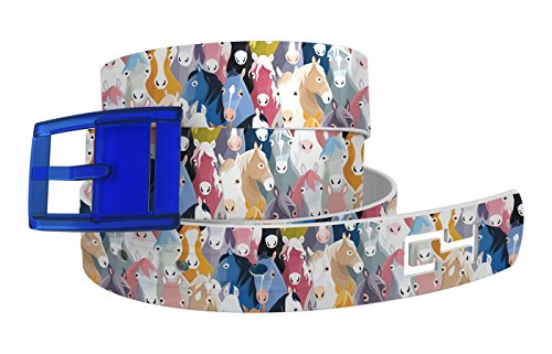 C4 Belts Horse Heads Belt with Blue Buckle - Equestrian Horseback Riding Belt for Women