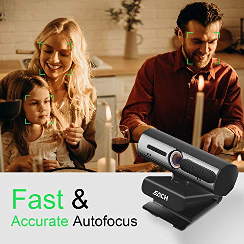 AutoFocus Full HD Webcam 1080P with Privacy Shutter - Pro Web Camera with Dual Digital Microphone - USB Computer Camera for PC Laptop Desktop Mac Video Calling, Conferencing Skype YouTube
