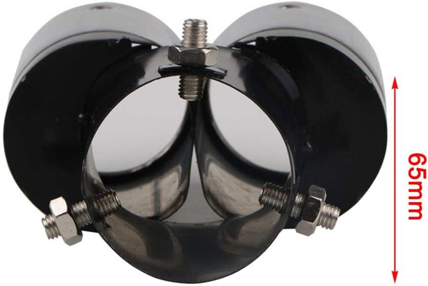 Super-ZS 64mm Autoauspuffrohr Heck Schwarz Auto Dekorative Edelstahl General Schalld/ämpfer Doppelauslass Silber