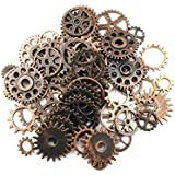 Yueton 100 Gram (Approx 70pcs) Assorted Antique Steampunk Gears Charms Pendant Clock Watch Wheel Gear for Crafting...