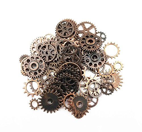 Yueton 100 Gram (Approx 70pcs) Assorted Antique Steampunk Gears Charms Pendant Clock Watch Wheel Gear for Crafting, Jewelry Making Accessory (Copper)
