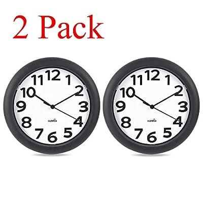 2 Pack Hippih Silent Wall Clock Black,10 inch