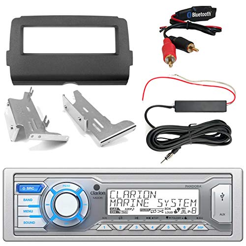 Single DIN Stereo, Bluetooth Adapter, Enrock Harley Dash Kit, Hide Away Antenna Booster Kit (Select 2014-Up Harley Davidson) ()