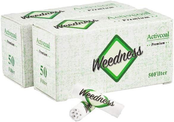Weedness Filtro de carbón Activo Slim 2x50 Puntas activas 100 Piezas - 7 mm Puntas de Filtro de Rosca Filtro Tips Papel de Fumar Smoking Rolling Filter Tip